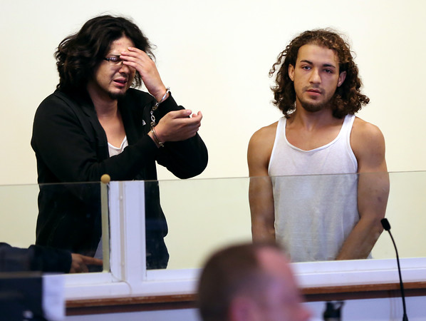 KEN YUSZKUS/Staff photo.         Kevin Mendoza, left, and Emmanuel Rodriguez-Shonyo are arraigned in Salem District Court on various gun charges.    08/02/16