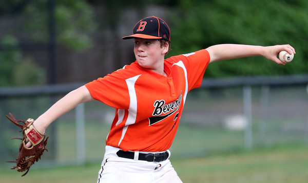 DAVID LE/Staff photo. Beverly starting pitcher Brennan Frost fires a pitch against Lynn. 8/16/16.