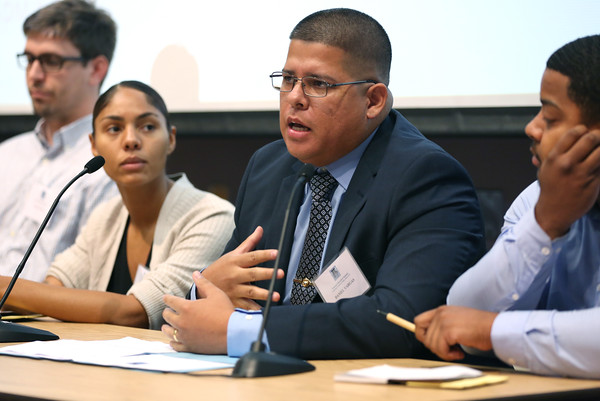 KEN YUSZKUS/Staff photo   North Shore Community College graduate and now Northeaster University student Daniel Vargas speaks at the First Veterans Education Summit at North Shore Community College.  08/17/16