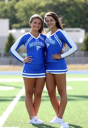 DAVID LE/Staff photo. Danvers High School senior cheerleader captains Megan Walters and Haley McStay. 8/30/16.