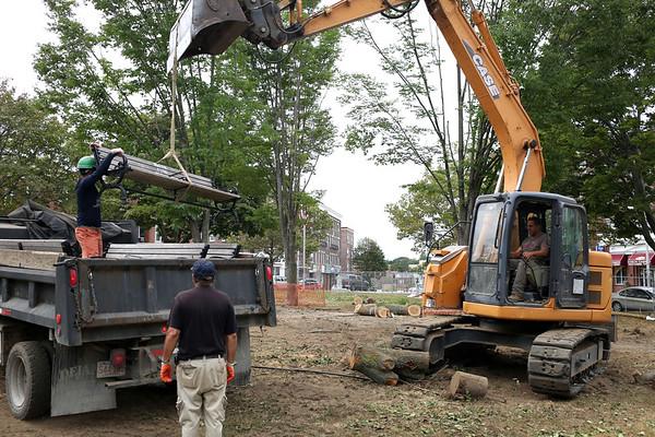 HADLEY GREEN/Staff photo<br /> Lafayette Park on the corner of Lafayette Street and Washington Street in Salem is undergoing major construction. 08/29/17