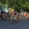 RYAN HUTTON/ Staff photo<br /> Riders bank to round the turn from South Washington Square to Washington Square East during the men's professional race of the 10th Annual Witches Cup bicycle race around Salem Common on Wednesday night.