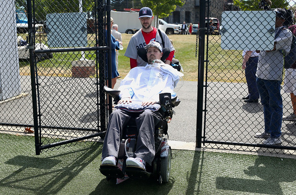 HADLEY GREEN/Staff photo<br /> Pete Frates enters the newly dedicated Pete Frates '03 Diamond baseball field at St. John's Prep. 08/30/17