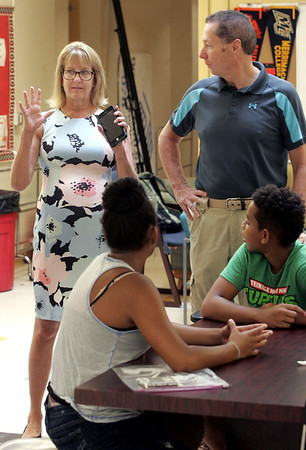 Sen. Joan Lovely and Rep. Paul Tucker visited the Boys & Girls Club summer camp at Collins Middle School