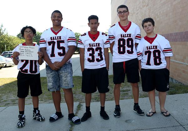 HADLEY GREEN/Staff photo<br /> Christian Reyes, Markin Bautista, Jordan Encarnacion, Noah Galeota, Justin S<br /> <br /> Salem High Football Mugshots. 08/30/17