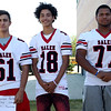 HADLEY GREEN/Staff photo<br /> Brandon Harvey, Nicky Lebron, Nelkin Bautista<br /> <br /> Salem High Football Mugshots. 08/30/17
