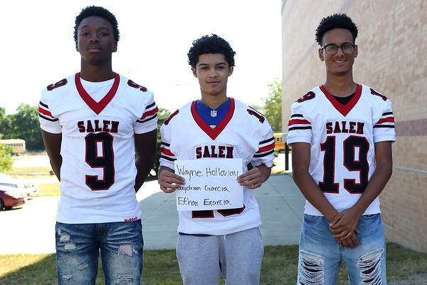 HADLEY GREEN/Staff photo<br /> Wayne Holloway, Jaydrian Garcia, Ethan Garcia<br /> <br /> Salem High Football Mugshots. 08/30/17