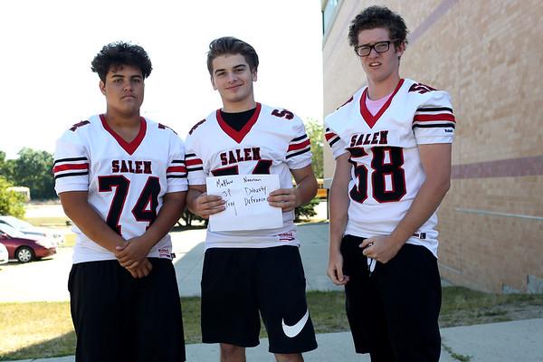 HADLEY GREEN/Staff photo<br /> Matthew Noonan, JP Doherty, Trey DeFranco<br /> <br /> Salem High Football Mugshots. 08/30/17
