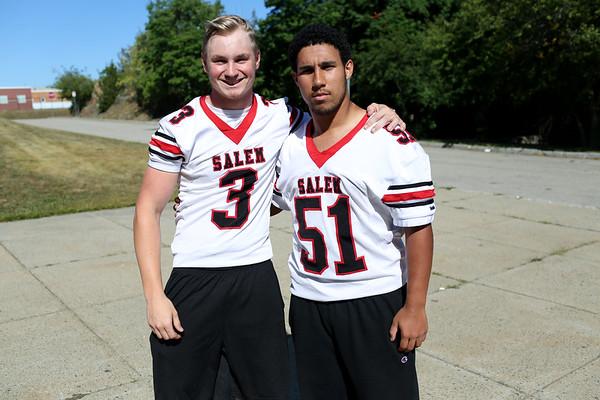HADLEY GREEN/Staff photo<br /> Captains Tyler Skeffington and Felix Cruz<br /> <br /> Salem High Football Mugshots. 08/30/17