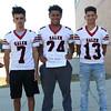 HADLEY GREEN/Staff photo<br /> Luis Ramirez, Ruben Baez, Randy Luna<br /> <br /> Salem High Football Mugshots. 08/30/17