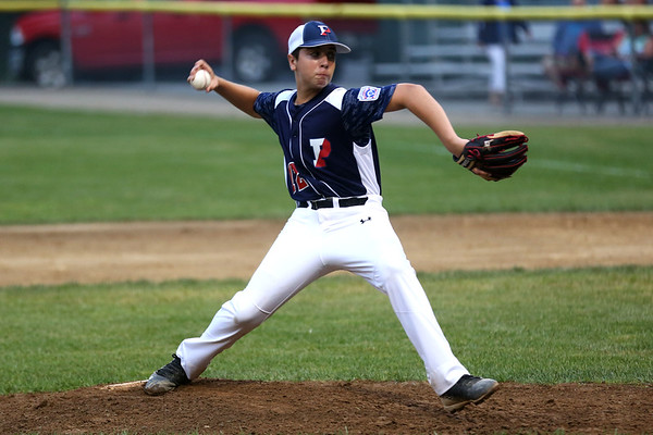 HADLEY GREEN/Staff photo<br /> Peabody's Giovanni Guglielmo (12) pitches at the Peabody v. Lynn Gallant baseball championship game at the Harry Ball Field in Beverly. 8/15/17