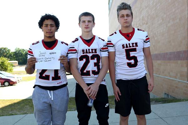 HADLEY GREEN/Staff photo<br /> Jeriel Diaz, Chris Doherty, Tyler Sanchez<br /> <br /> Salem High Football Mugshots. 08/30/17
