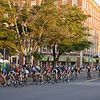 RYAN HUTTON/ Staff photo<br /> Racers in the women's professional race round the corner from South Washington Square onto Washington Square West during the 10th Annual Witches Cup bicycle race around Salem Common on Wednesday night.