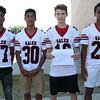 HADLEY GREEN/Staff photo<br /> Luis Paulino, Deandre Lopez, Braidon Bezzati, Gabriel Sanchez<br /> <br /> Salem High Football Mugshots. 08/30/17