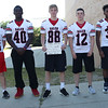 HADLEY GREEN/Staff photo<br /> Bobby Jellison, Sam O'Furie, Patrick Boardway, Tommy Beauregard, Tyler White<br /> <br /> Salem High Football Mugshots. 08/30/17