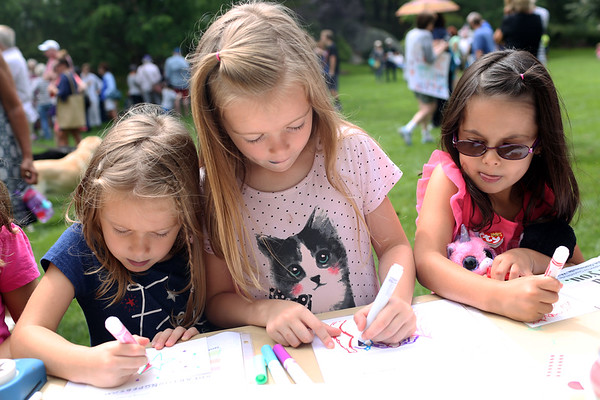 HADLEY GREEN/Staff photo<br /> From left, Cristina Henrichs, Ariana Henrichs, and Olivia Padelford draw cards for children in Charlottesville, Virginia at the Rally for Love organized by Beverly High School student Eliza Michaels on Beverly Common. 8/18/17