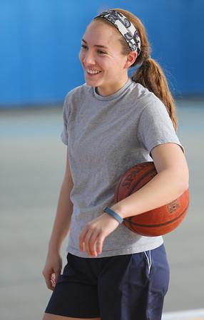 KEN YUSZKUS/Staff photo. Swampscott girls basketball captain Sam Rizzo at practice.  12/31/14