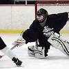 KEN YUSZKUS/Staff photo.  Beverly High hockey's goalie freshman Troy Doyle at practice at Pingree's Johnson Rink.   12/12/14