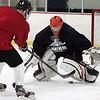 KEN YUSZKUS/Staff photo.  Beverly High hockey's goalie junior Tim Casagrande at practice at Pingree's Johnson Rink.   12/12/14