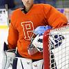 KEN YUSZKUS/Staff photo.   Peabody High School's junior goalie Aaron McDonnell at practice.   12/14/15.