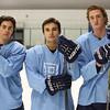 KEN YUSZKUS/Staff photo.   Peabody High School's offensive players Nick Merryman, Chris Gillen and Owen Brewster at practice.   12/14/15.