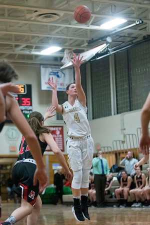 SAM GORESH/Staff photo. Bishop Fenwick sophomore Olivia DiPetro shoots the ball in their game against Reading in the Masconomet Girls Basketball Holiday Invitational. 12/27/16