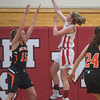 SAM GORESH/Staff photo. Masconomet junior Paige Amyouny goes up for a basket in their game against Beverly in the Masconomet Girls Basketball Holiday Invitational. 12/27/16