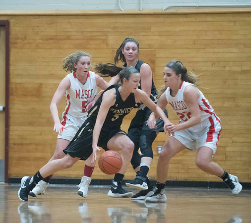 SAM GORESH/Staff photo. Bishop Fenwick sophomore Salli Gallant takes control of the ball in the final game of the Masconomet Girls Basketball Holiday Invitational against Masconomet. 12/29/16