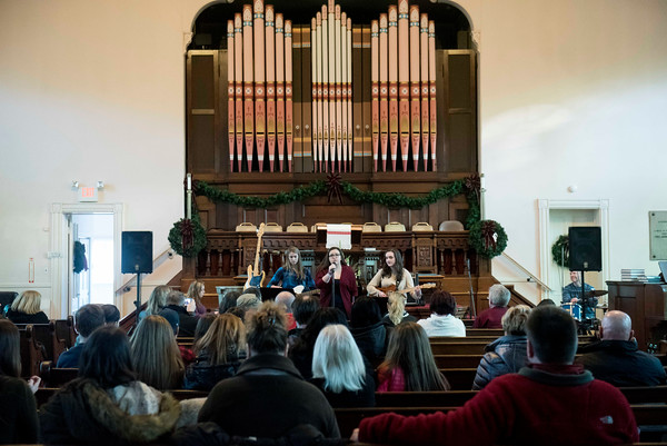 The band The Extras performs at the First Parish Unitarian Church during Beverly's New Year's celebration on Cabot Street. 12/30/16