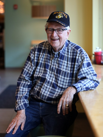 DAVID LE/Staff photo. Frank Kelley, of Marblehead, recounted his experience with the attacks on Pearl Harbor back on December 7, 1941. 10/13/16.