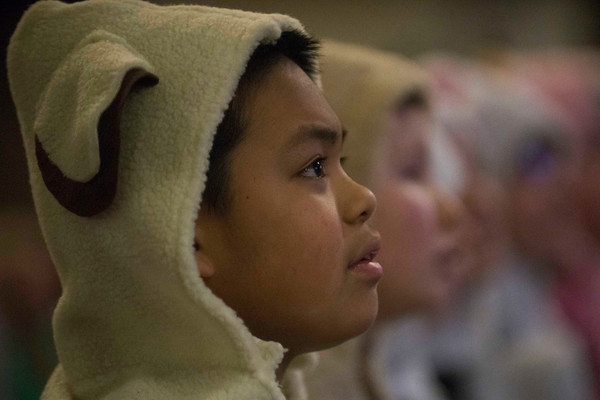 """SAM GORESH/Staff photo. Joachim Lardizabal sings with the congregation at Holy Trinity United Methodist Church in Danvers before performing as a sheep named Clarence in """"All About that Baby,"""" a play that tells the story of the Nativity through the perspective of a Shepherd named Nathaniel and his taking sheep. 12/24/16"""