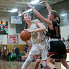 SAM GORESH/Staff photo. Bishop Fenwick junior Jennie Meagher looks to shoot the ball as Reading sophomore Alyssa Pryputniewicz attempts to stop her on defense in the Masconomet Girls Basketball Holiday Invitational. 12/27/16