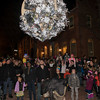 SAM GORESH/Staff photo. The crowd admires the ball as they counted down to an early new year at the Salem Main Streets' Launch New Year's Eve event at the Old Town Hall. 12/31/16