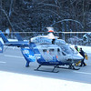 HADLEY GREEN/Staff photo<br /> A person is loaded into a medical helicopter after a five-car crash shut down Route 95 southbound in Boxford.<br /> <br /> 12/23/17