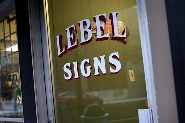 HADLEY GREEN/Staff photo<br /> Lebel Signs in Lynn.<br /> <br /> 12/23/17