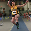 MIKE SPRINGER/Staff photo<br /> Isadora Sorpol of Bishop Fenwick competes in the long jump during a Tri-County Track & Field League meet Tuesday at the Reggie Lewis Track and Field Center in Roxbury Crossing.<br /> 12/26/2017