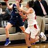 HADLEY GREEN/Staff photo<br /> Hamilton-Wenham's J Shea (3) moves the ball at the Masconomet v. Hamilton-Wenham girls basketball game at Masconomet High School.