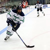 HADLEY GREEN/Staff photo<br /> Endicott's Ryan Dougherty (3) skates towards the net at the Endicott v. Salem State boys hockey game at Endicott College.