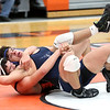 HADLEY GREEN/Staff photo<br /> Peabody's John Selmeran and Beverly's Alexi Echavaria wrestle at the Beverly v. Peabody wrestling match at Beverly High School.<br /> 12/20/17