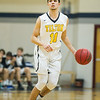 AMANDA SABGA/Staff photo. <br /> <br /> Tilton's Marcus Zegarowski dribbles up court during a game against Springfield Commonwealth at Gordon College. Former Hamilton-Wenham standout twins Marcus and Max Zegarowski, now playing for Tilton Academy.<br /> <br /> 12/9/17