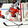 HADLEY GREEN/Staff photo<br /> Salem State's goalie Jason Pucciarelli (35) defends the net at the Endicott v. Salem State boys hockey game at Endicott College.
