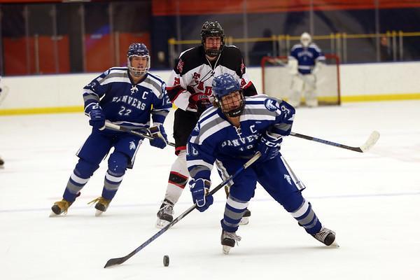 HADLEY GREEN/Staff photo<br /> Danvers' Nicolas DiSciullo (18) skates towards the net at the Marblehead v. Danvers boys hockey game at the Rockett Arena. <br /> <br /> 12/23/17