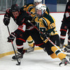 Marblehead senior forward Max DelVento (22), tries to keep control of the puck while being leaned on by North Reading senior captain Thomas Day (19) during the first period of play on Friday evening in the D2 North Quarter Finals at Stoneham Arena in Stoneham. DAVID LE/Staff Photo 2/28/14