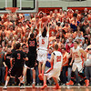 The Beverly fan section reacts after senior Nick Cross tried a dunk in the fourth quarter of play on Tuesday evening. North Andover defeated the Panthers 68-57 to advance in the D2 North State Tournament. DAVID LE/Staff photo 2/25/14