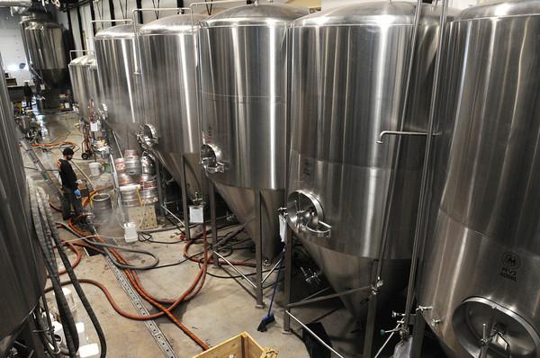 Ken Yuszkus/Staff photo: Ipswich:  The beer fermentation cellar at Ipswich Ale Brewery's new building in Ipswich.  2/18/14