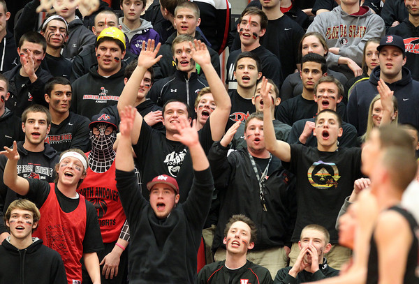 The North Andover faithful made the journey to Beverly High School to watch the Scarlet Knights take on the Panthers and they were rewarded with a 68-57 win on Tuesday evening. DAVID LE/Staff photo 2/25/14