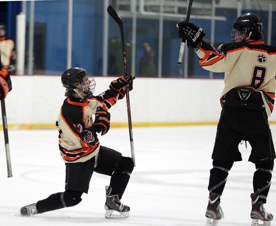 Beverly senior captain Connor Irving (22) celebrates his first period goal with junior defenseman Nick Albano (8) on Friday evening in the D2 North Quarter Finals at Stoneham Arena in Stoneham on Friday evening. DAVID LE/Staff Photo 2/28/14