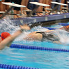 Competitors in the 200 Meter Medley Relay launch off the wall during the start of the race during the NEC meet at Salem State University on Thursday evening. DAVID LE/Staff photo
