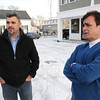 Ken Yuszkus/Staff photo: Danvers: Business partners Dan Mammola, left, and Peter Pantezelos talk about their new mixed use commercial and residential building at 78 Holton Street in Danvers.