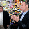 Ken Yuszkus/Staff photo: Revere:  Chip Tuttle, right, with Revere Mayor Daniel Rizzo in Luberto's Pastry Shop in Revere.